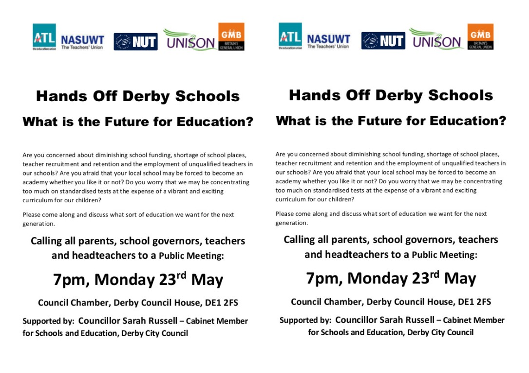 Hands Off Derby Schools leaflet